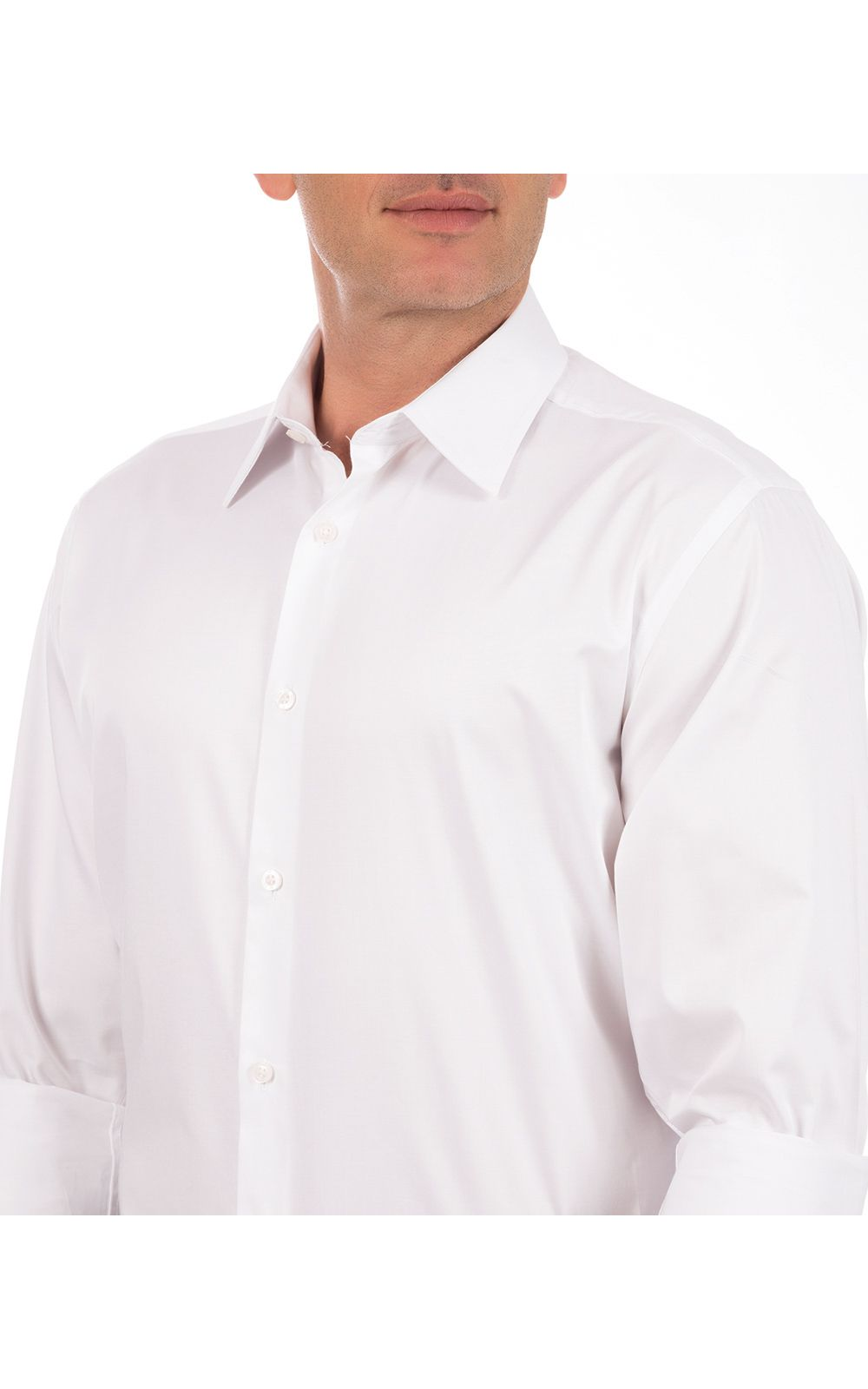 Foto 3 - Camisa Social Masculina Branca Lisa