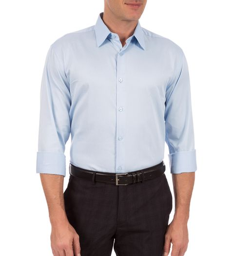 c7e1d9abd9562 Camisa Social Masculina Azul Lisa
