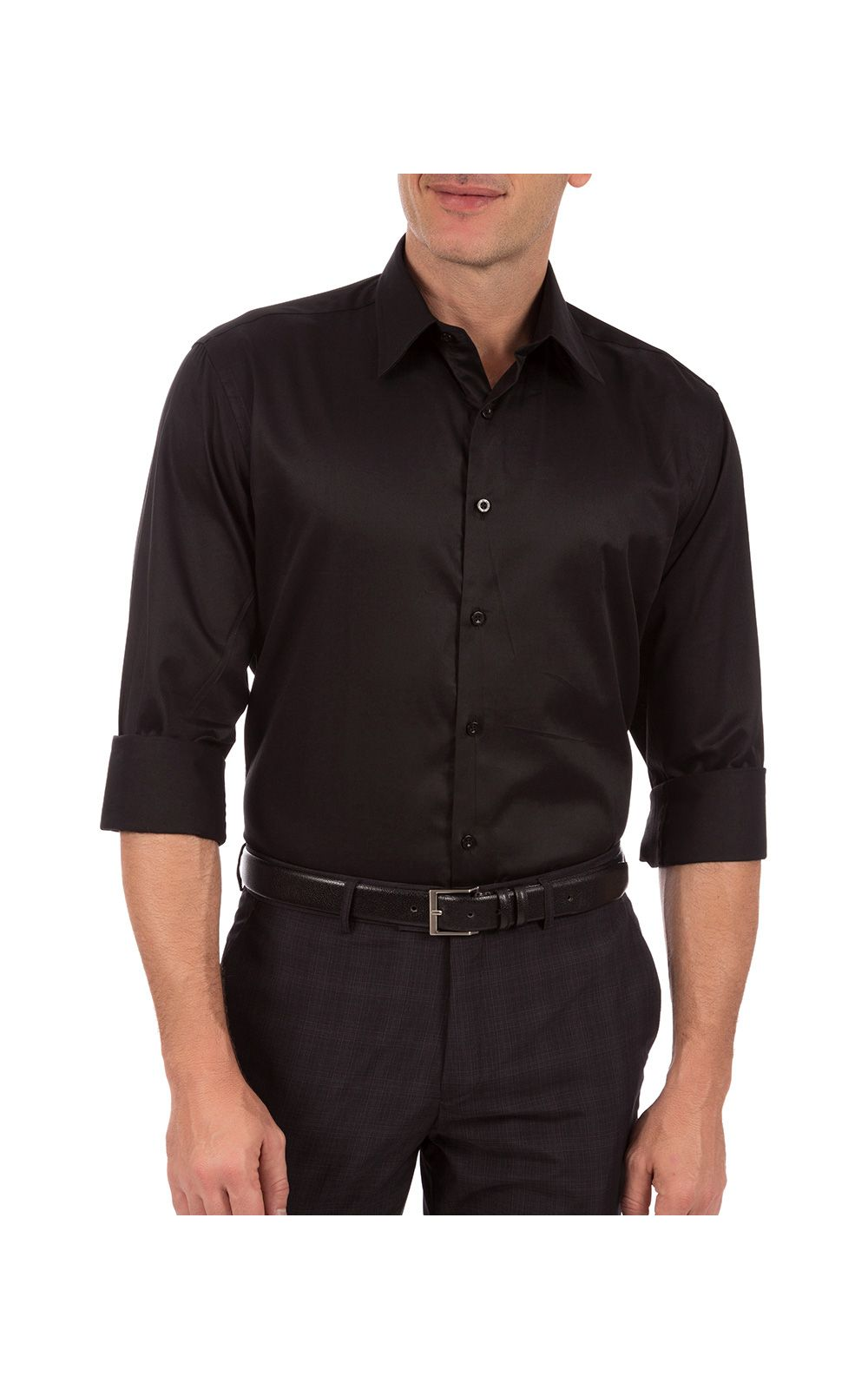 Foto 1 - Camisa Social Masculina Preta Lisa