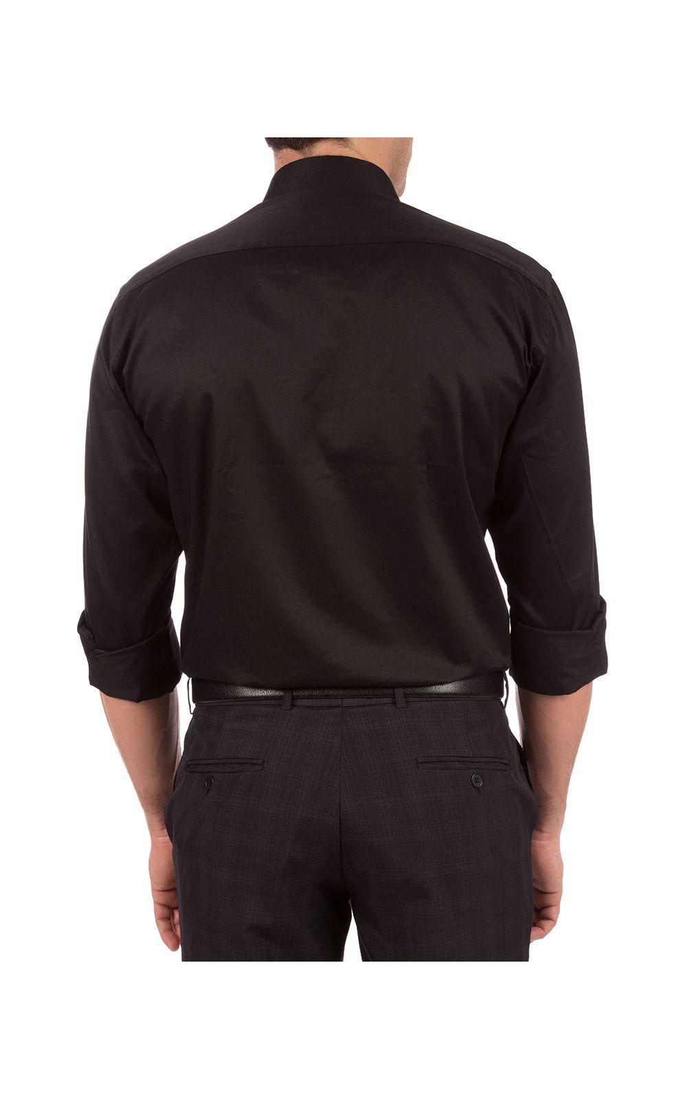 Foto 2 - Camisa Social Masculina Preta Lisa
