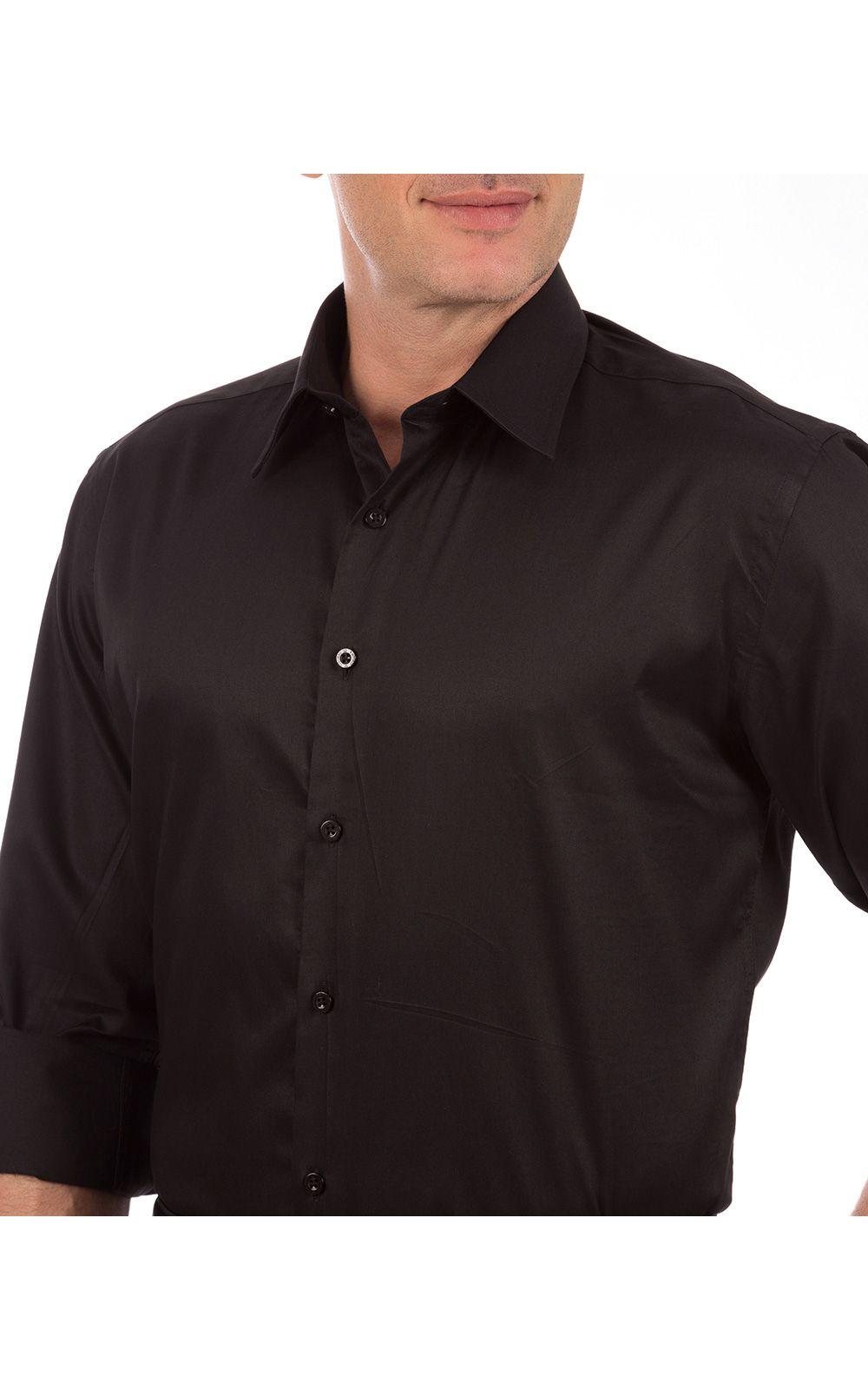 Foto 3 - Camisa Social Masculina Preta Lisa
