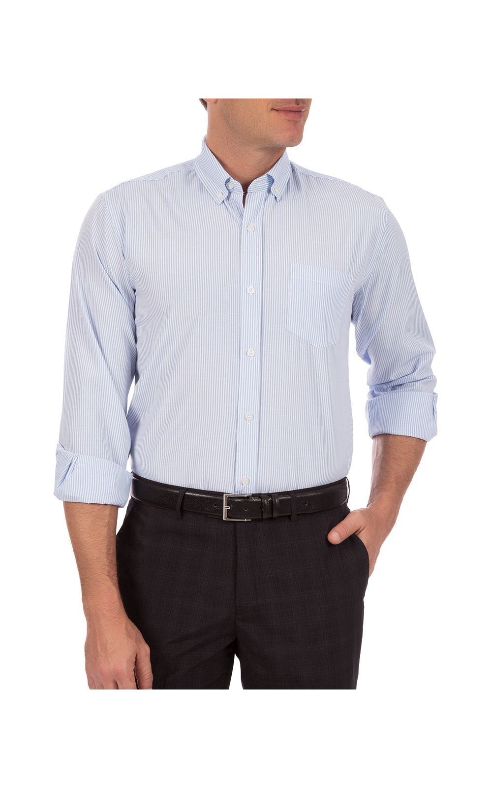 Foto 1 - Camisa Social Masculina Azul Listrada