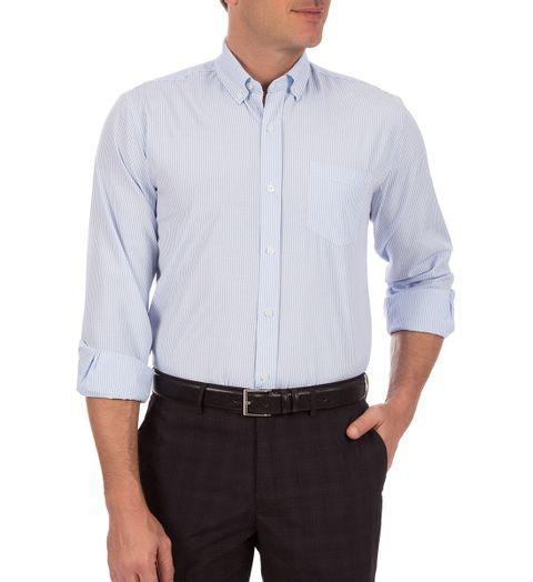 56fbad3b40 Camisa Social Masculina Azul Listrada