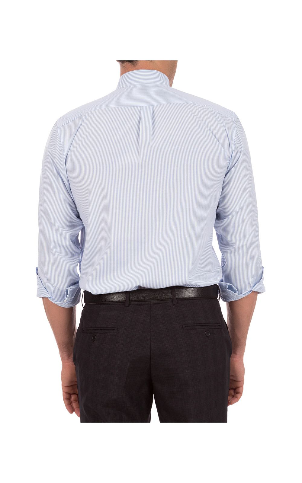 Foto 2 - Camisa Social Masculina Azul Listrada