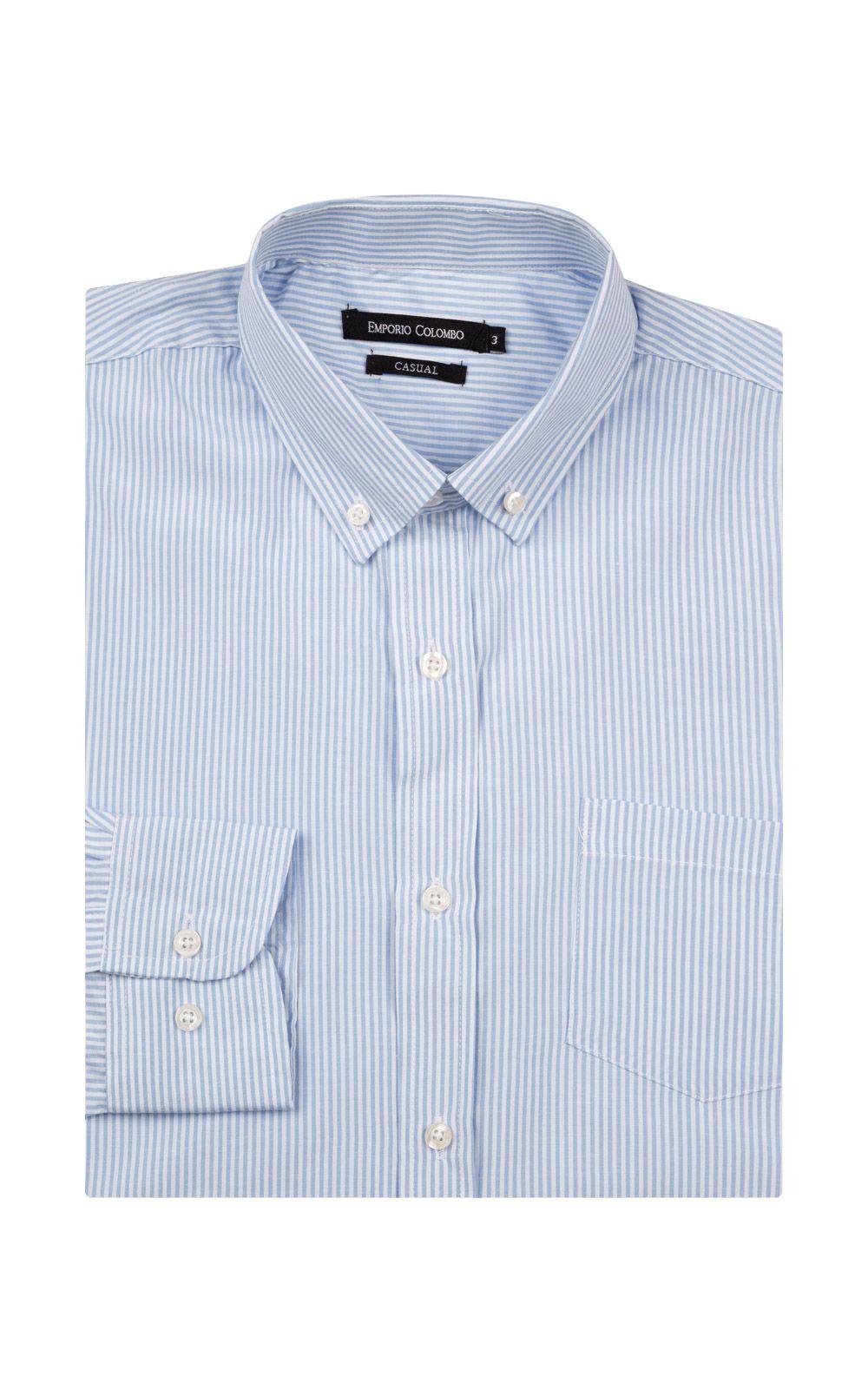 Foto 4 - Camisa Social Masculina Azul Listrada