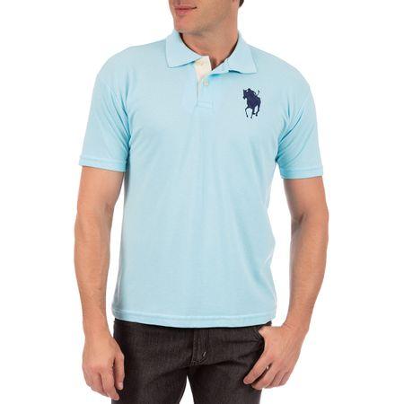 Camisa Polo Masculina Azul Detalhada