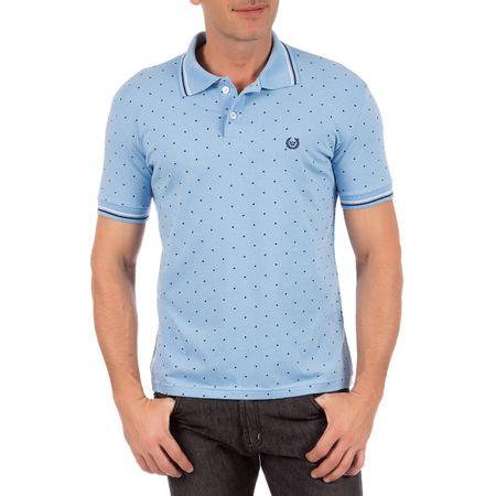 Camisa Polo Masculina Azul Estampada