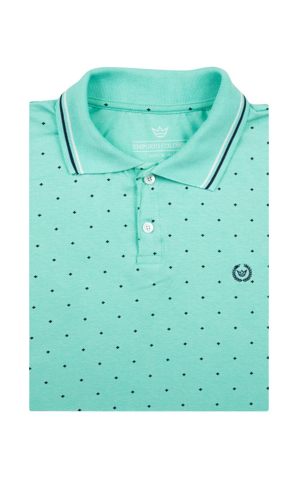 Foto 4 - Camisa Polo Masculina Verde Estampada