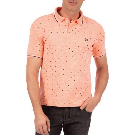 Camisa Polo Masculina Laranja Estampada