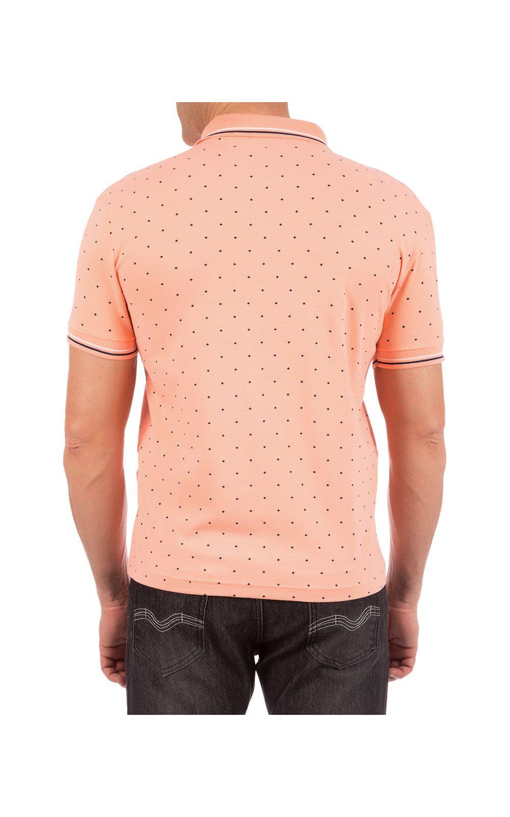 Foto 2 - Camisa Polo Masculina Laranja Estampada