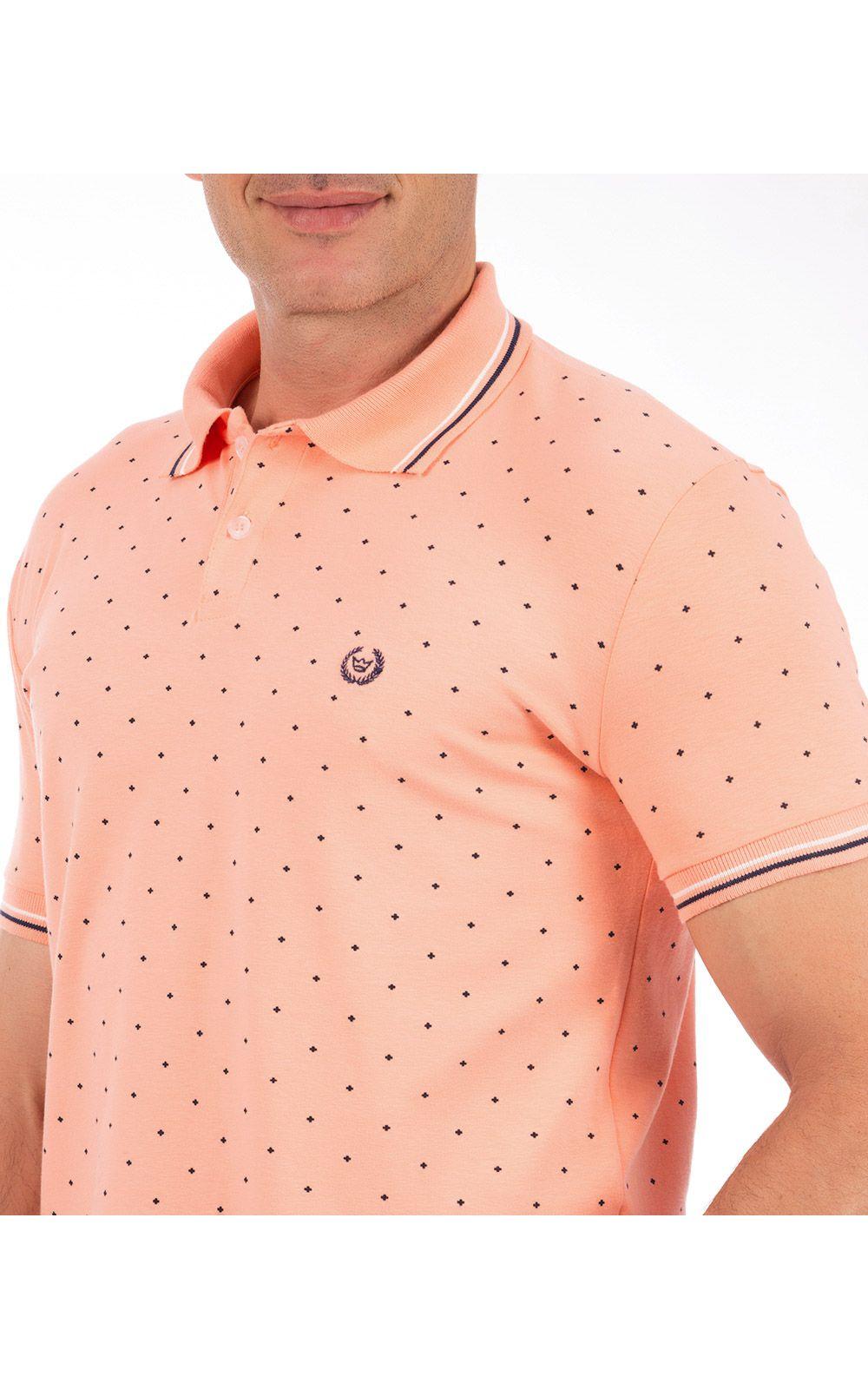 Foto 3 - Camisa Polo Masculina Laranja Estampada