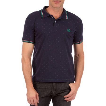 Camisa Polo Masculina Azul Marinho Estampada
