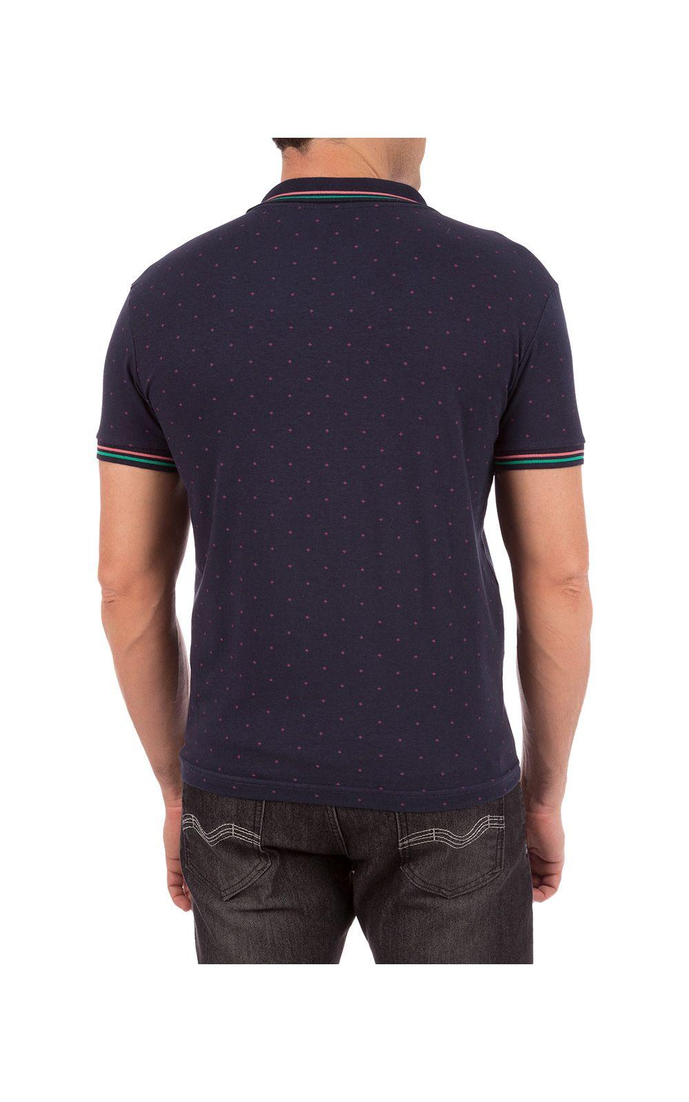 Foto 2 - Camisa Polo Masculina Azul Marinho Estampada