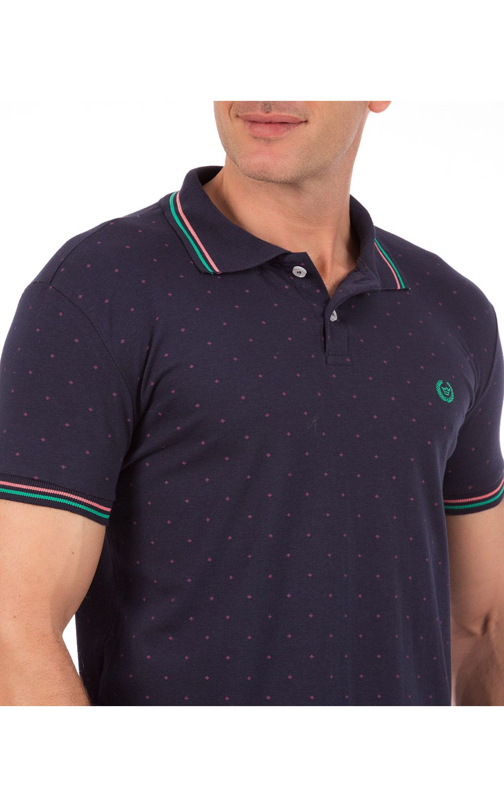 Foto 3 - Camisa Polo Masculina Azul Marinho Estampada