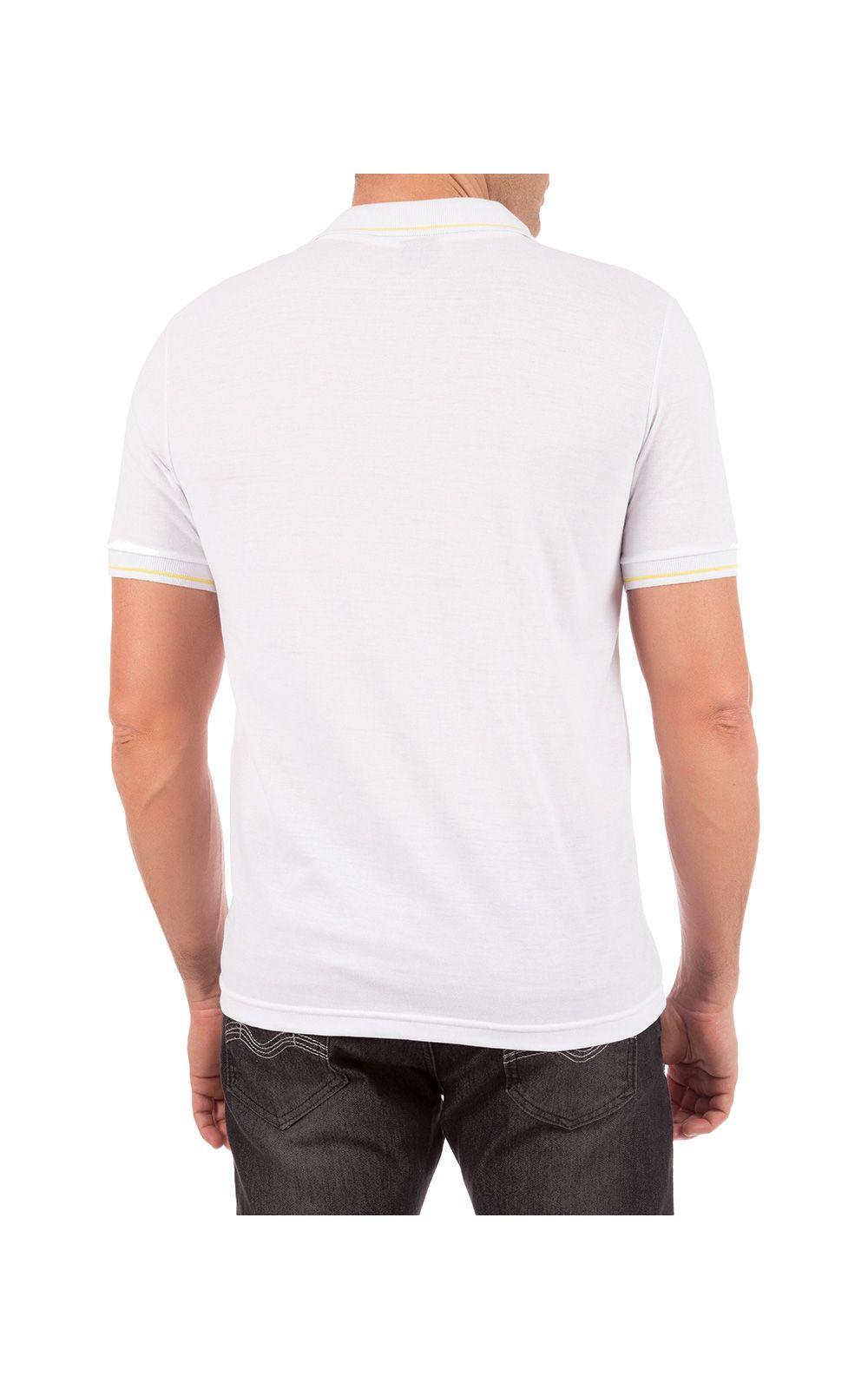 Foto 2 - Camisa Polo Masculina Branca Detalhada