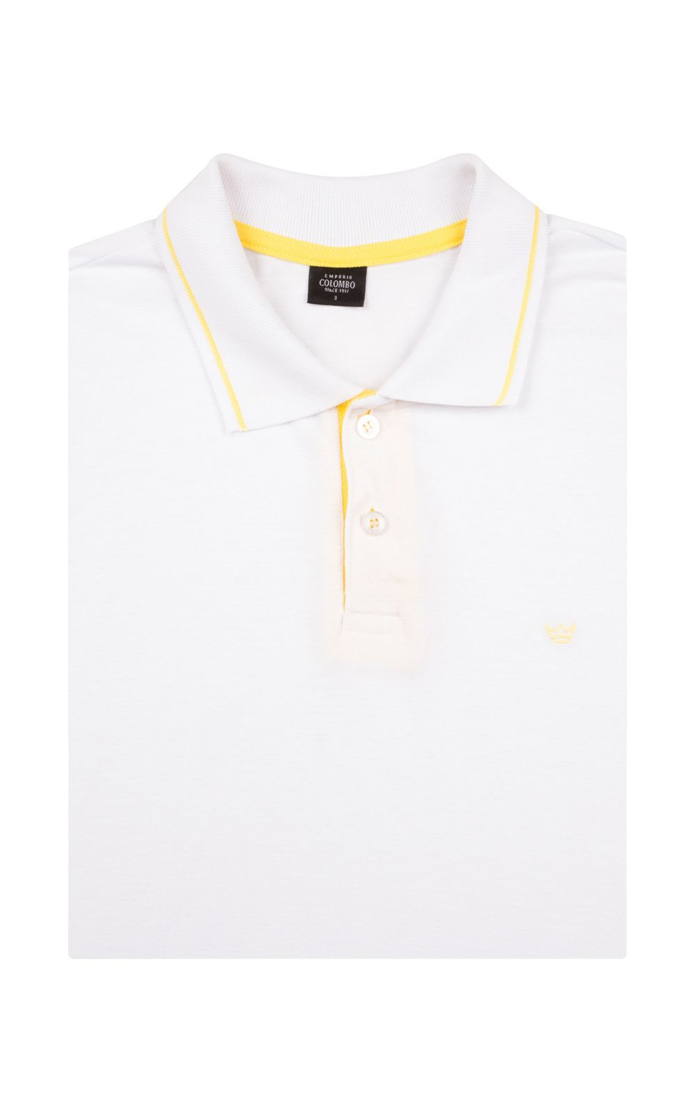 Foto 4 - Camisa Polo Masculina Branca Detalhada