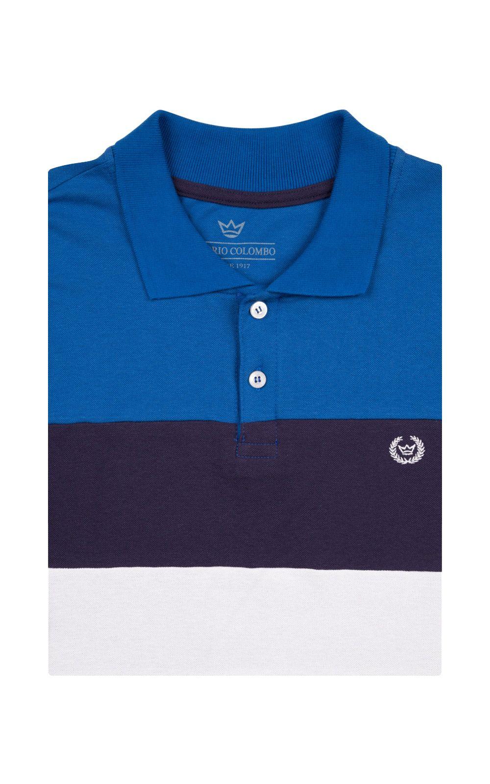 Foto 4 - Camisa Polo Masculina Azul Listrada