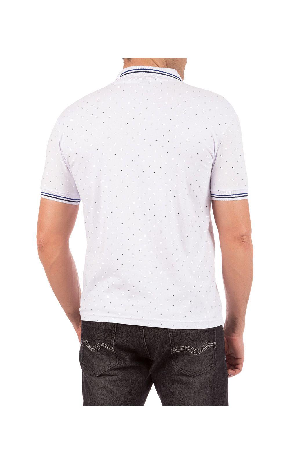 Foto 2 - Camisa Polo Masculina Branca Estampada