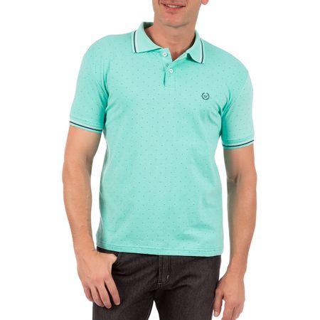 Camisa Polo Masculina Verde Estampada