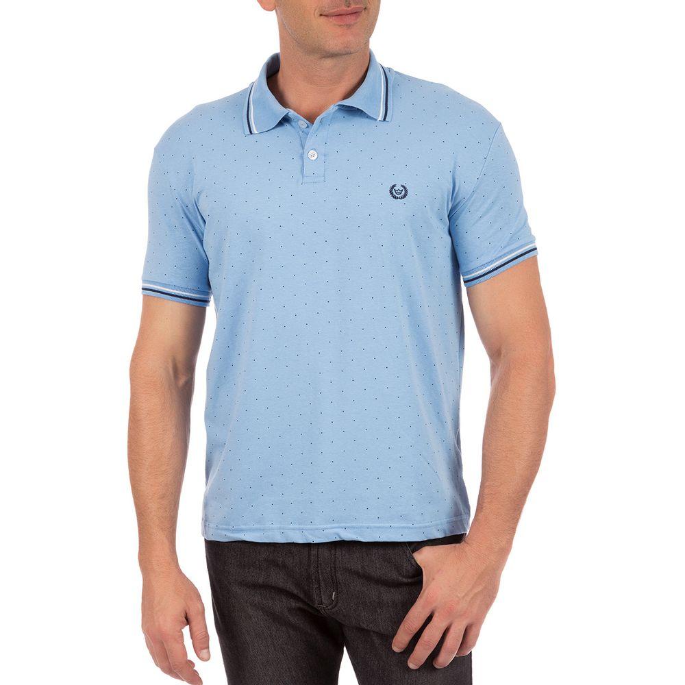 Camisa Polo Masculina Azul Estampada - Camisaria Colombo c942ab7c58197