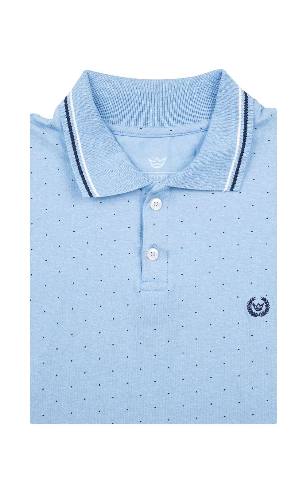 Foto 4 - Camisa Polo Masculina Azul Estampada