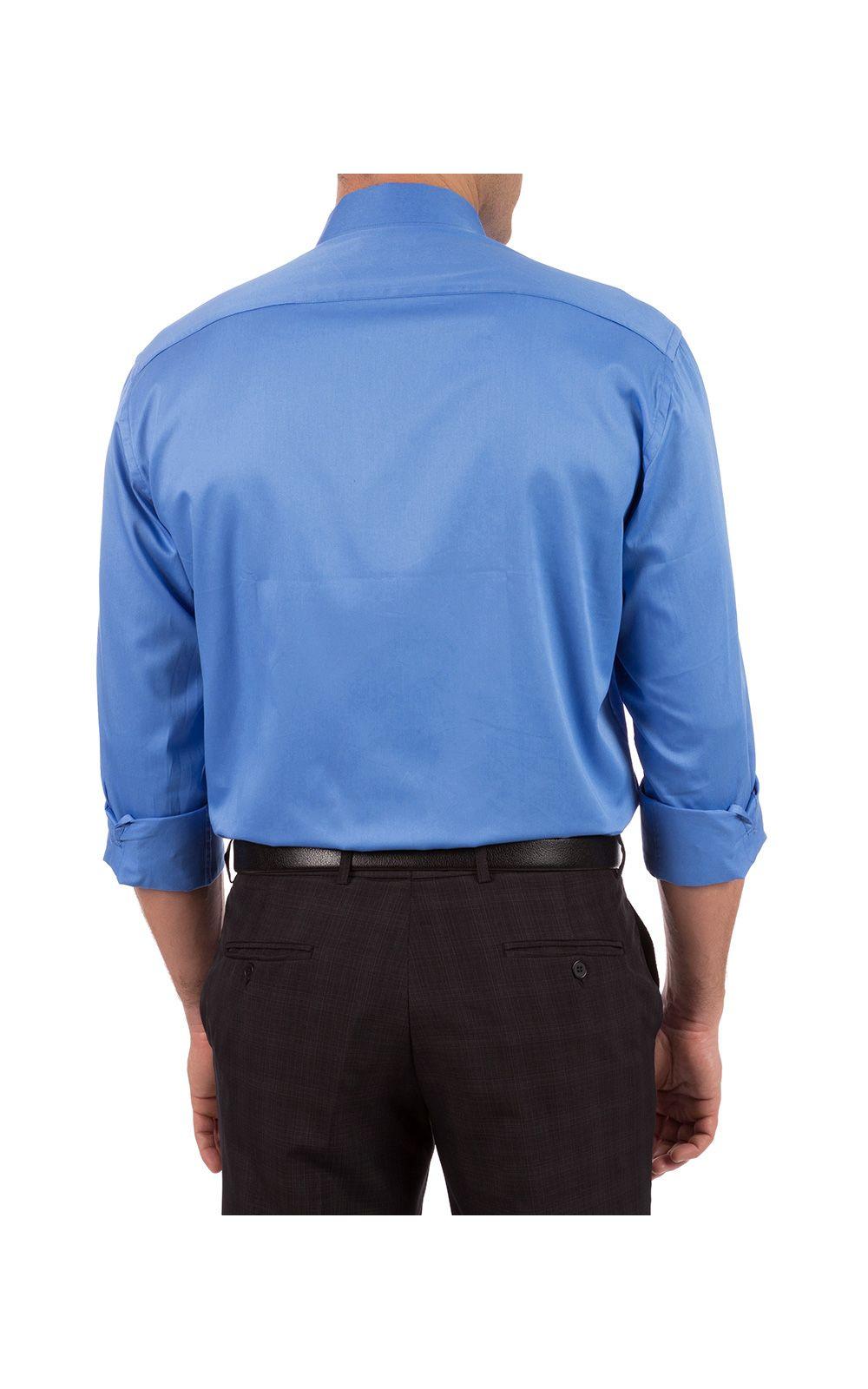 Foto 2 - Camisa Social Masculina Azul Lisa