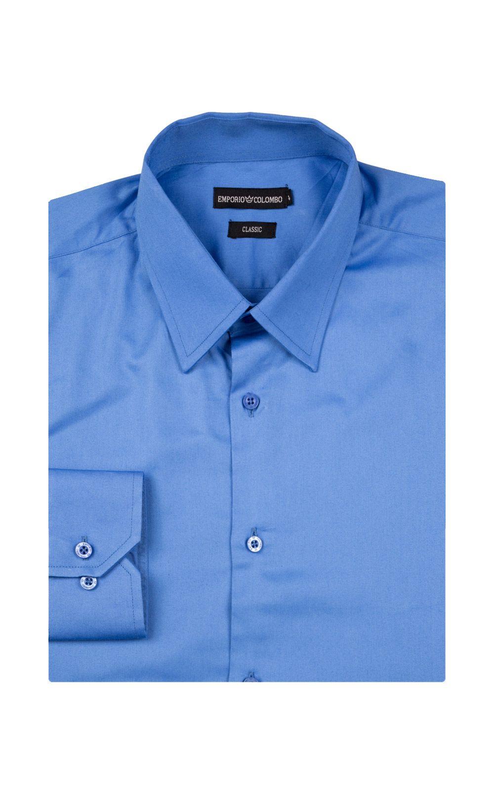 Foto 4 - Camisa Social Masculina Azul Lisa