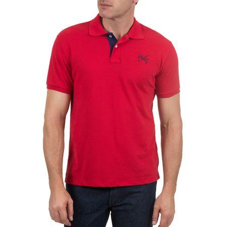 Camisa Polo Masculina Vermelha Lisa Bordada