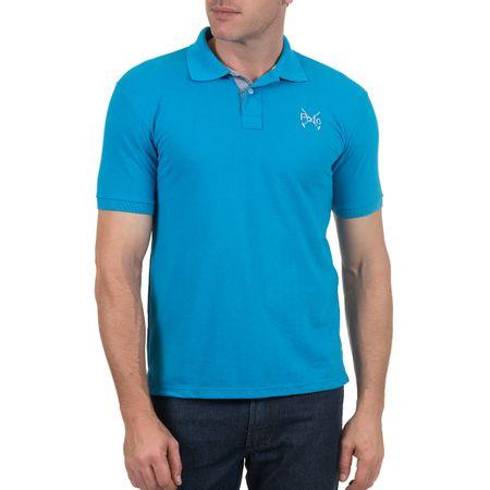 Camisa Polo Masculina Bordada Azul Lisa