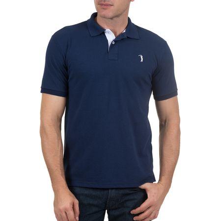 Camisa Polo Masculina Azul Lisa Bordada