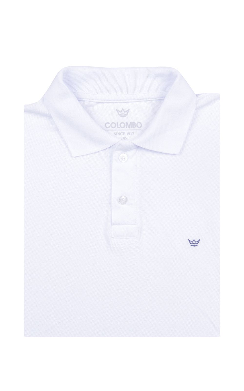Foto 4 - Camisa Polo Masculina Branca Lisa