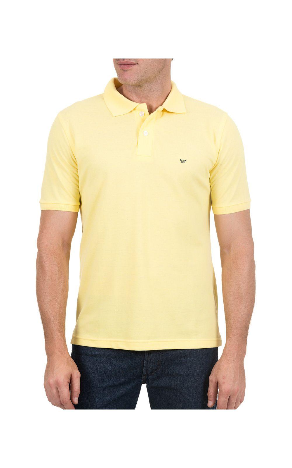 Foto 1 - Camisa Polo Masculina Amarela Lisa