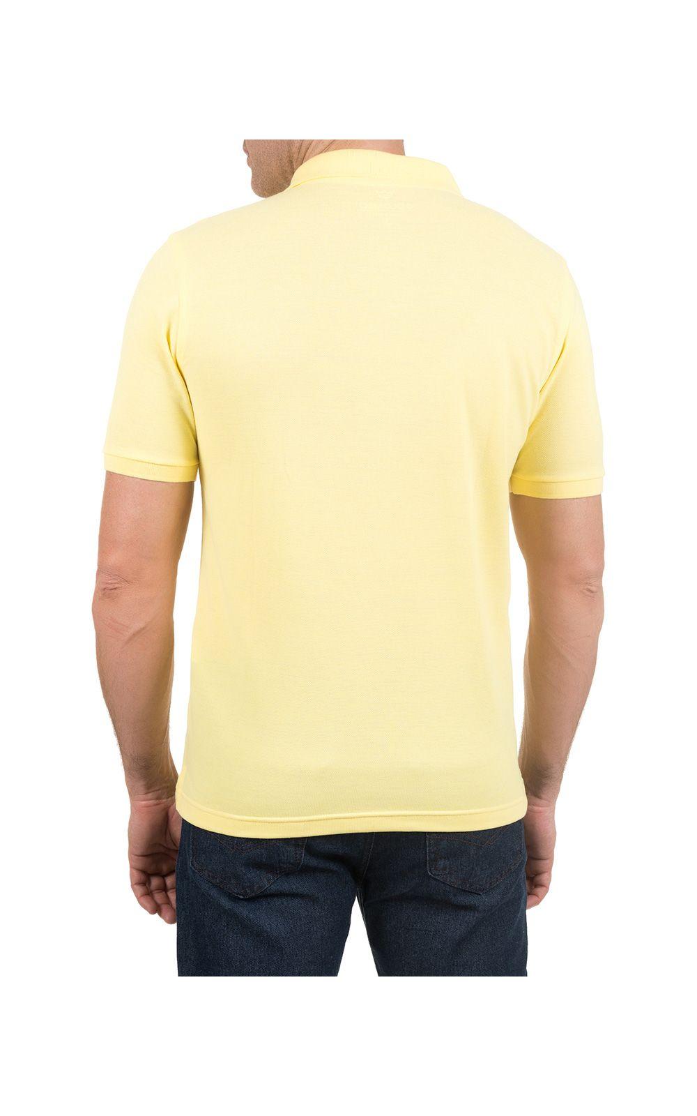 Foto 2 - Camisa Polo Masculina Amarela Lisa