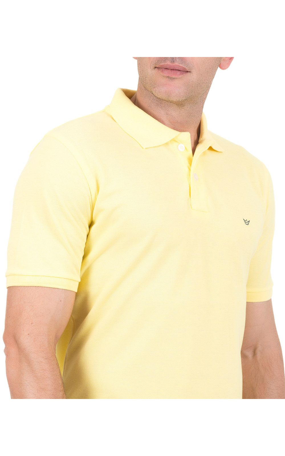 Foto 3 - Camisa Polo Masculina Amarela Lisa