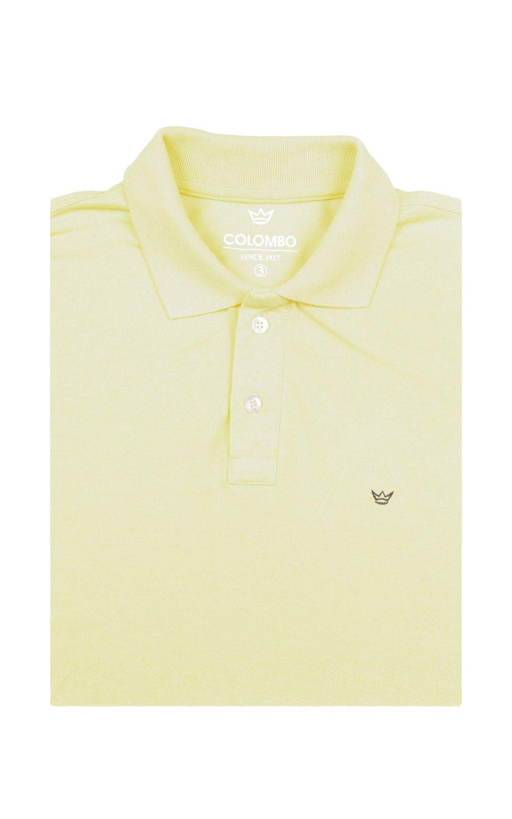 Foto 4 - Camisa Polo Masculina Amarela Lisa