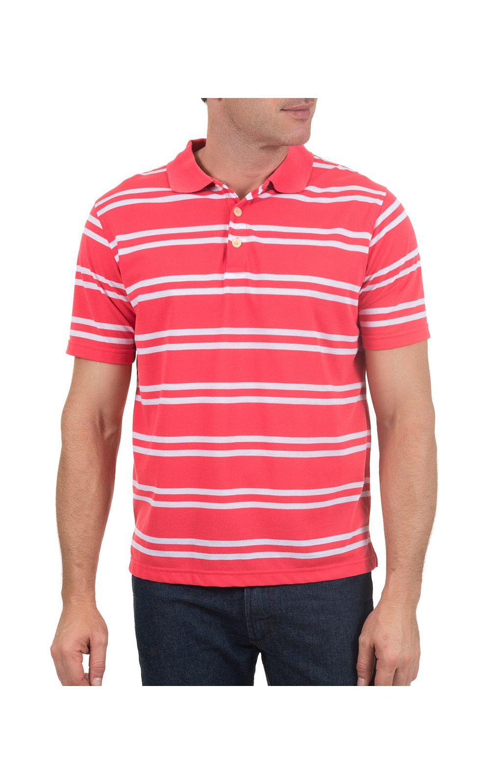 Foto 1 - Camisa Polo Masculina Rosa Listrada