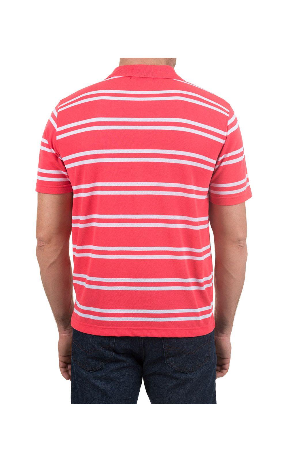 Foto 2 - Camisa Polo Masculina Rosa Listrada