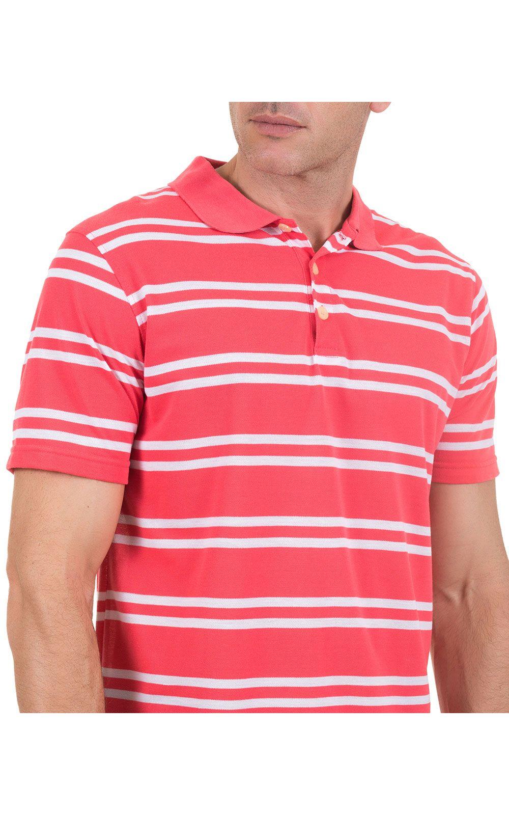 Foto 3 - Camisa Polo Masculina Rosa Listrada