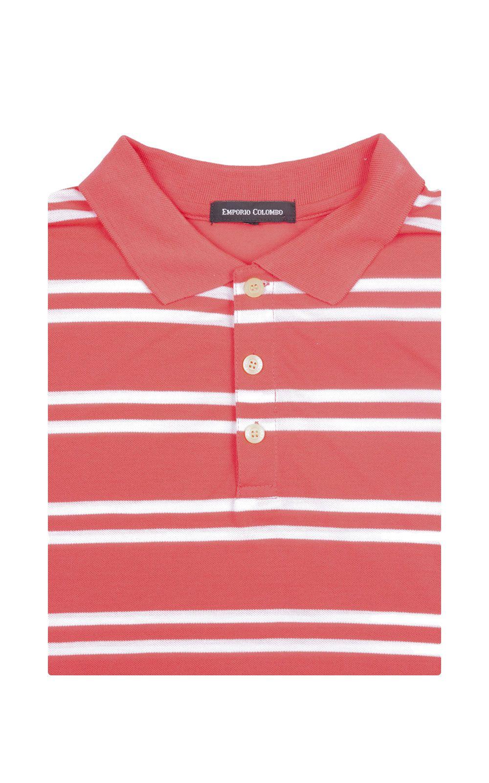 Foto 4 - Camisa Polo Masculina Rosa Listrada