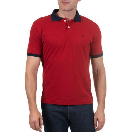 Camisa Polo Masculina Vermelha Detalhada