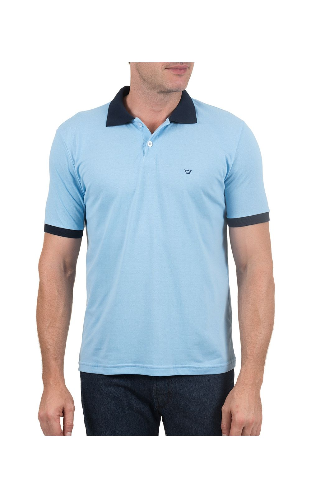 Foto 1 - Camisa Polo Masculina Azul Lisa