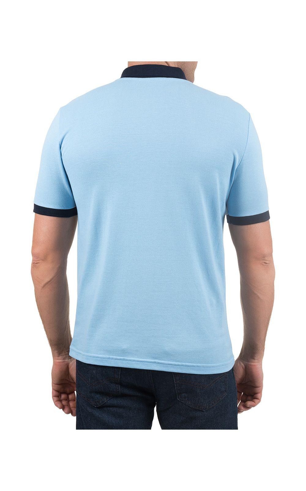 Foto 2 - Camisa Polo Masculina Azul Lisa