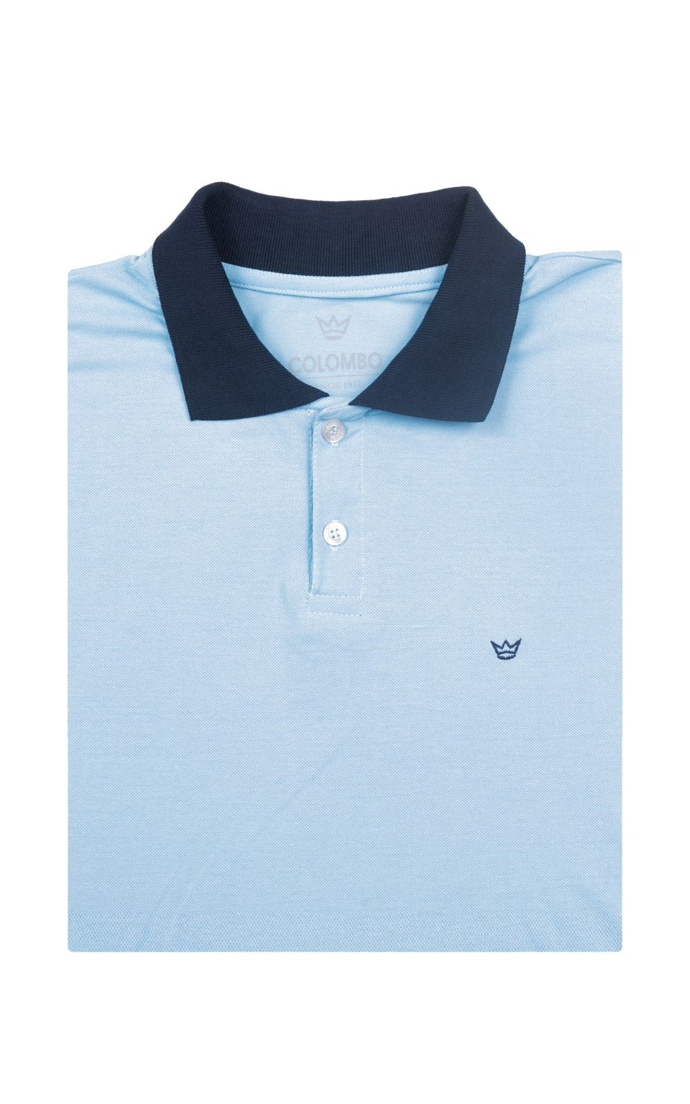 Foto 4 - Camisa Polo Masculina Azul Lisa