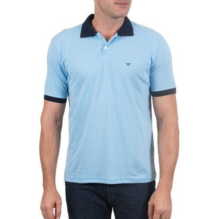 Camisa Polo Masculina Com Detalhe Azul Lisa