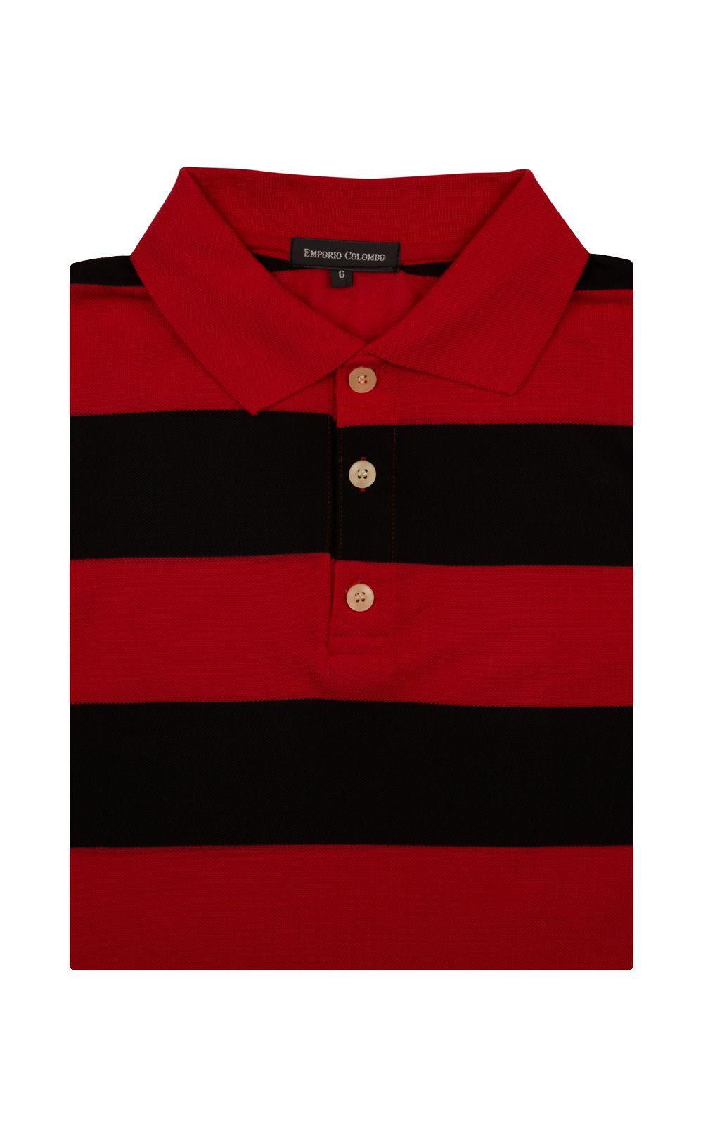 Foto 4 - Camisa Polo Masculina Vermelha Listrada