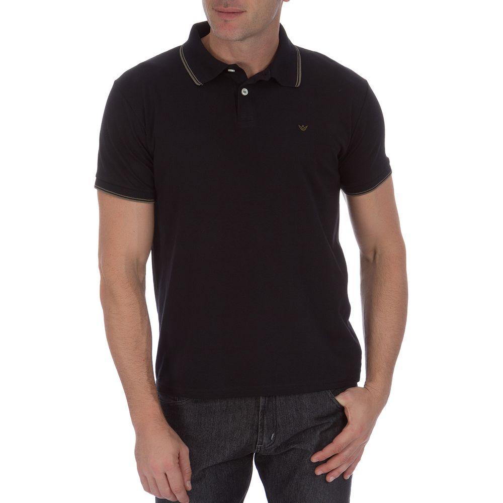 PRODUTO ADICIONADO A SACOLA. Camisa Polo Masculina Preta com Detalhe 19ca44ccdabac