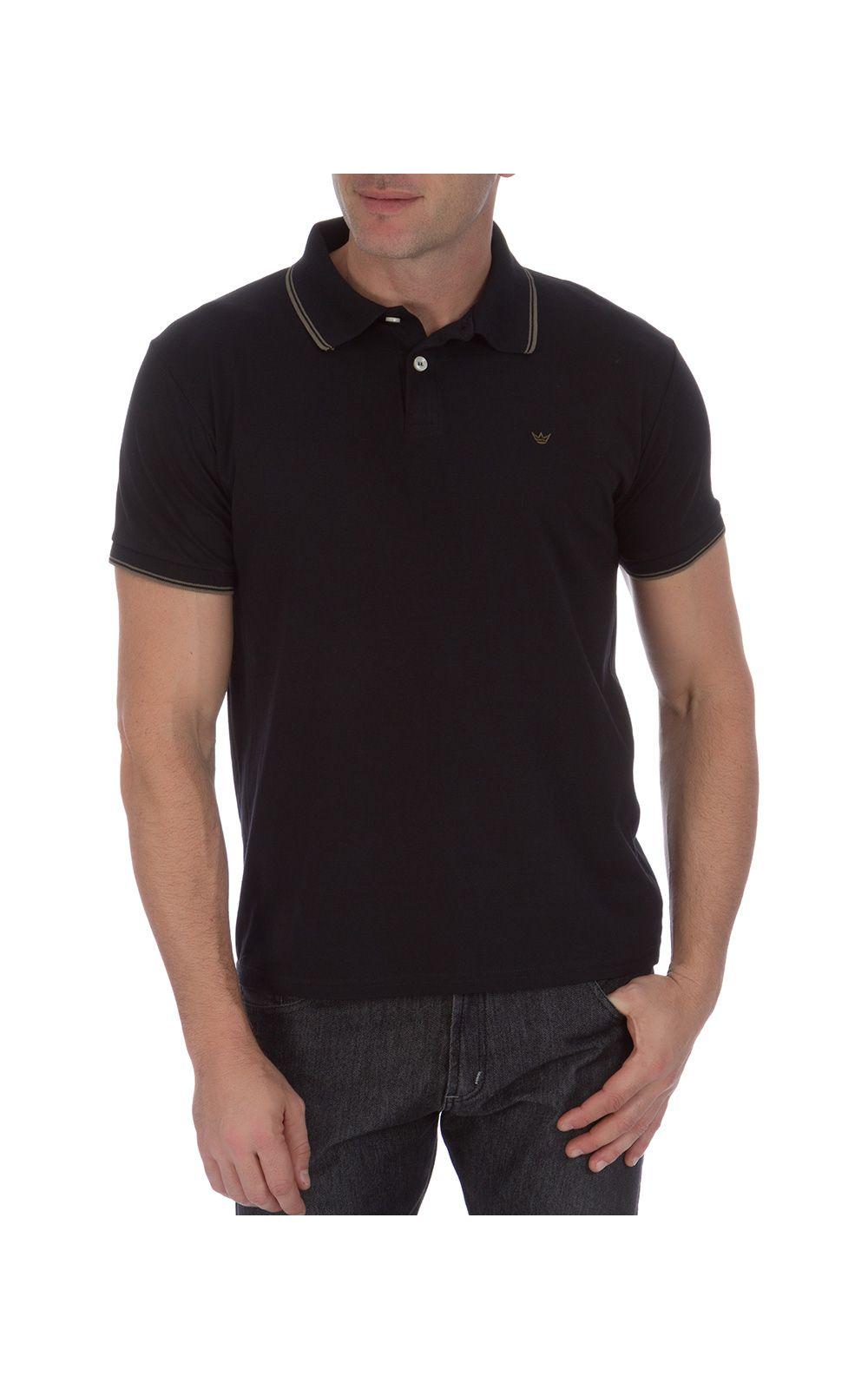 Foto 1 - Camisa Polo Masculina Preta Detalhada