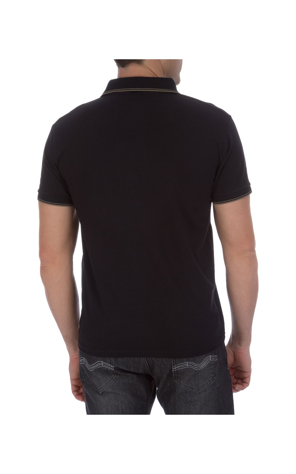 Foto 2 - Camisa Polo Masculina Preta Detalhada