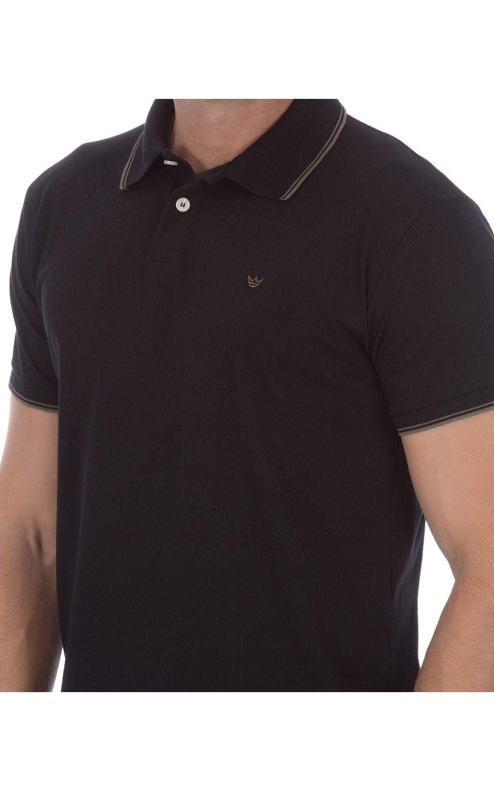 Foto 3 - Camisa Polo Masculina Preta Detalhada