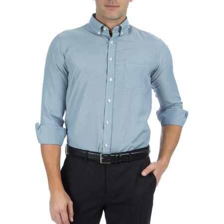Camisa Social Masculina Manga Longa Lisa Azul